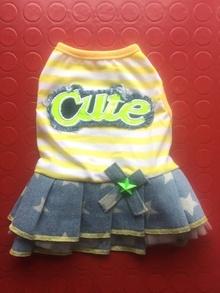 Дънкови роклички CUTE BABY в жълто