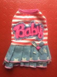 Дънкови роклички CUTE BABY в червено